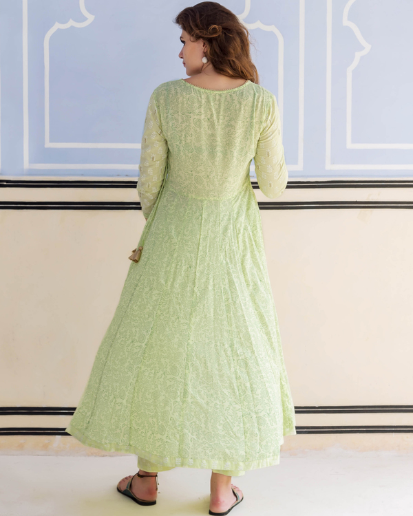 Lime green hand block printed and embroidered anarkali kurta with pants - set of Two 4