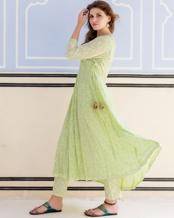 Lime green hand block printed and embroidered anarkali kurta with pants - set of Two 3