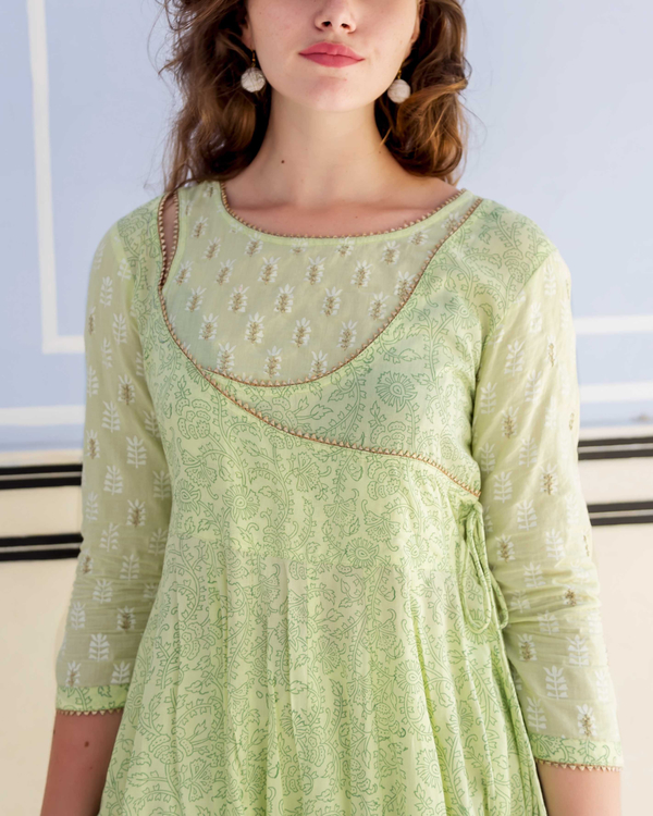 Lime green hand block printed and embroidered anarkali kurta with pants - set of Two 2