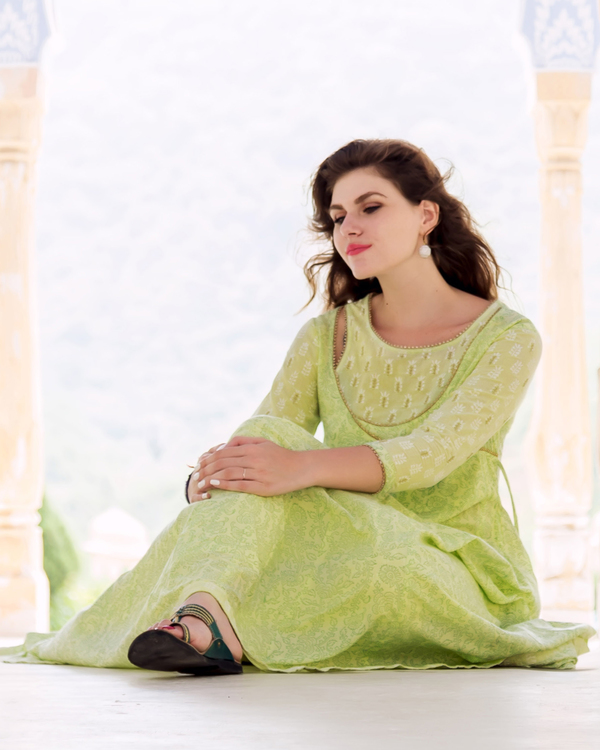 Lime green hand block printed and embroidered anarkali kurta with pants - set of Two 1