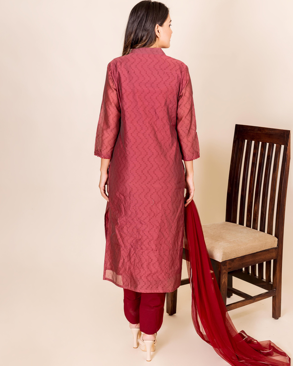 Burgundy bandhej printed and embroidered suit set - set of three 3