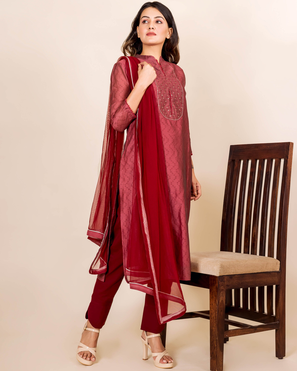 Burgundy bandhej printed and embroidered suit set - set of three 2
