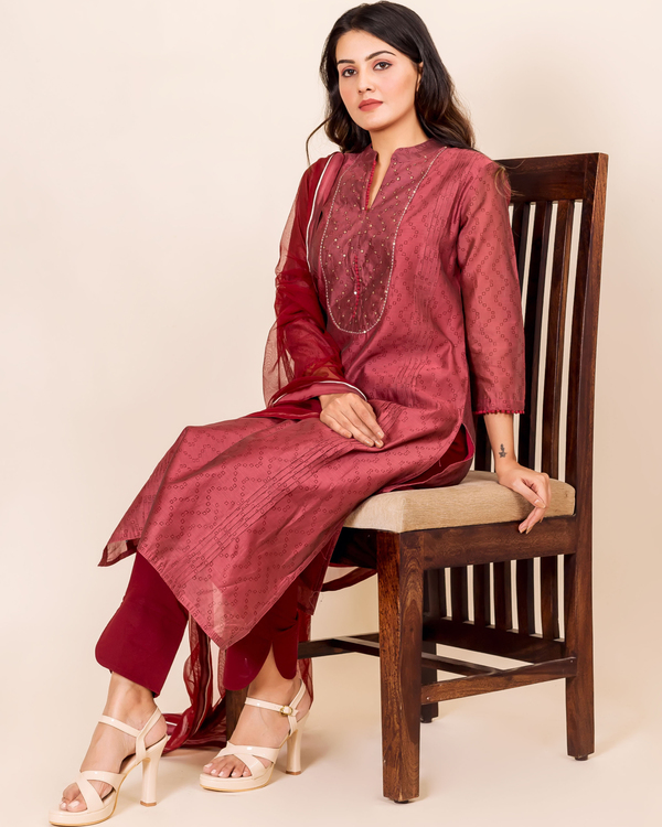 Burgundy bandhej printed and embroidered suit set - set of three 1