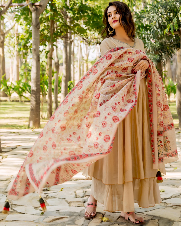 Beige hand embroidered layered kurta with dupatta - set of two 2