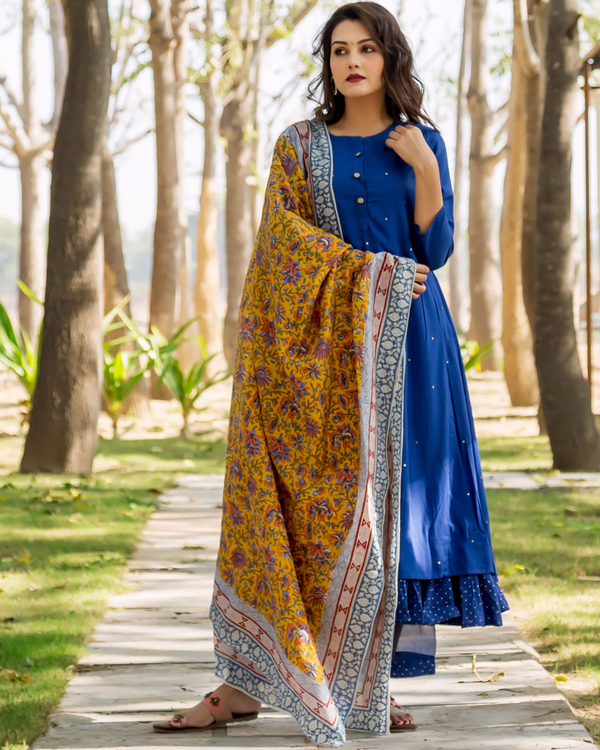 Azure blue embroidered and layered suit set - set of three 3