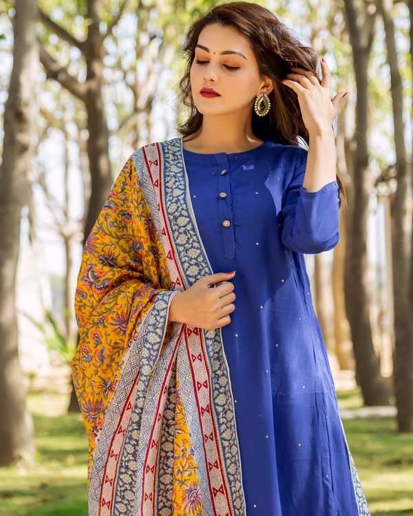 Azure blue embroidered and layered suit set - set of three 1