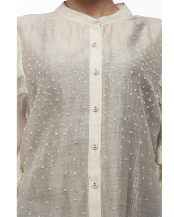 Cotton silk cut work shirt 1