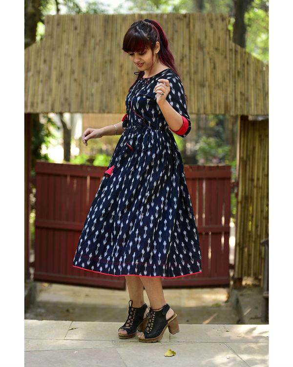 Black ikat tasseled dress 1