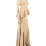 Buy Neoprene floral applique maxi skirt by Archana Rao at