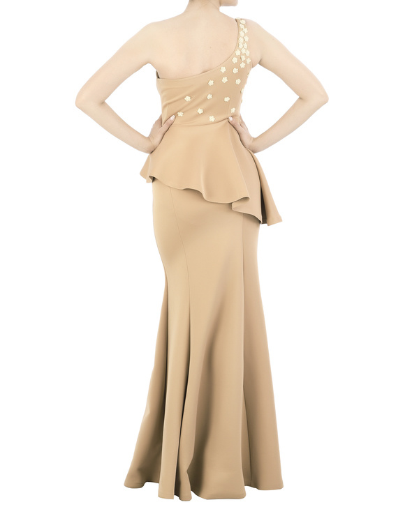 Neoprene off-shoulder gown with floral applique bodice by