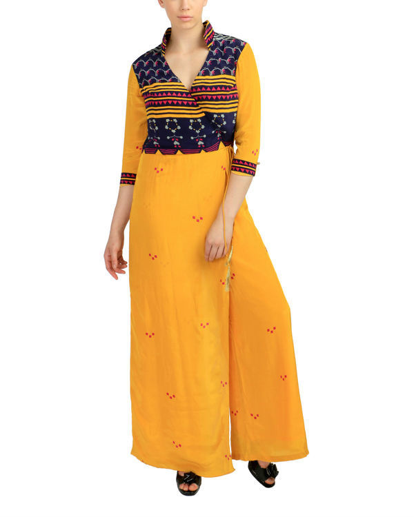 Yellow crossover jumpsuit 1
