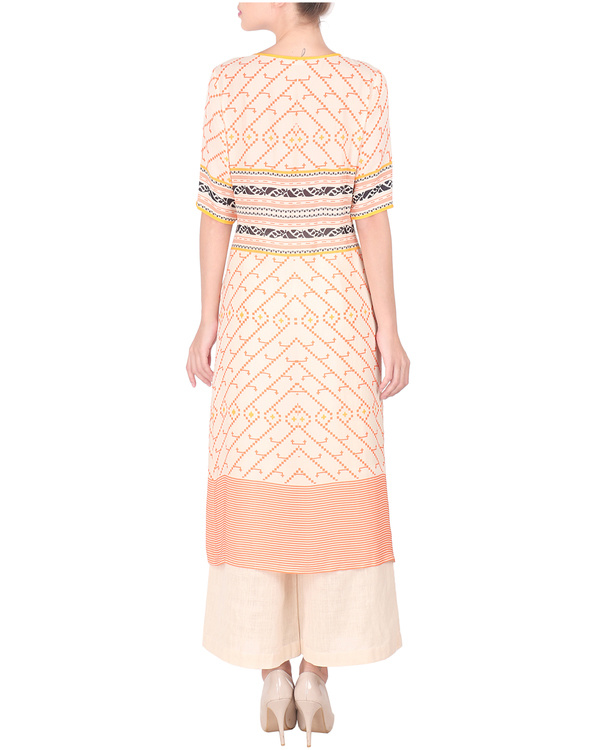 Double georgette peach pink long tunic with palazzos 2