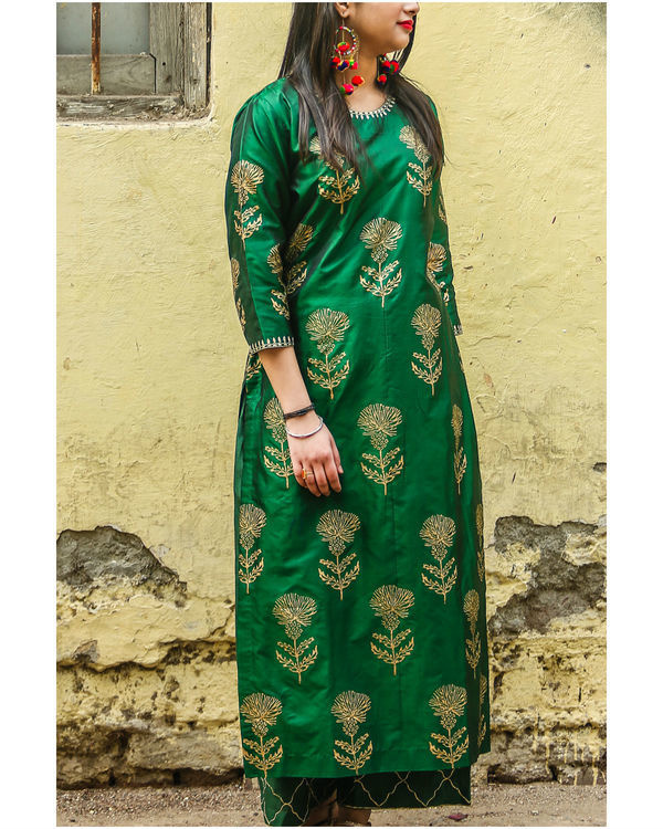 Emerald floral kurta set 1
