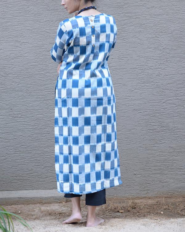 Blue ikat side button tunic 2