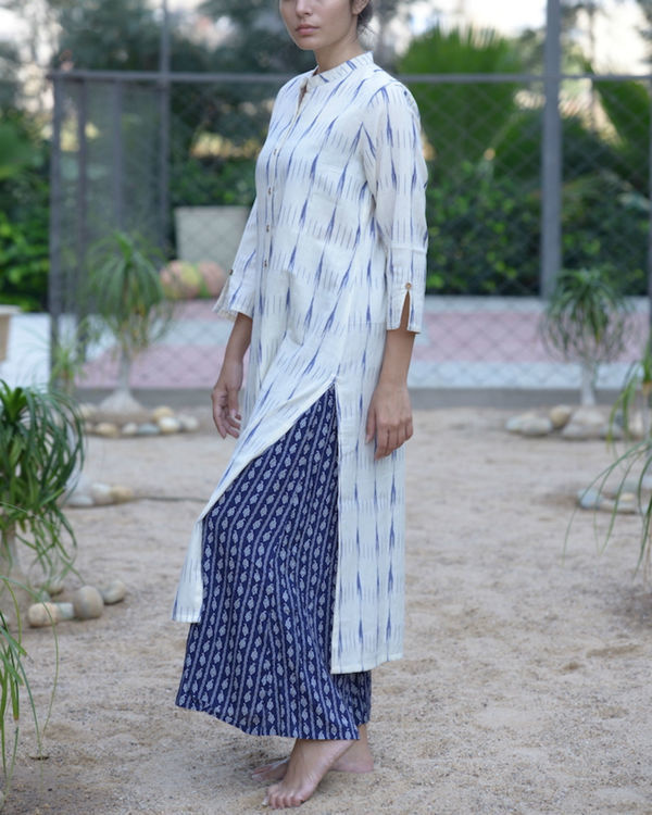 White ikat kurta with blue palazzos 1