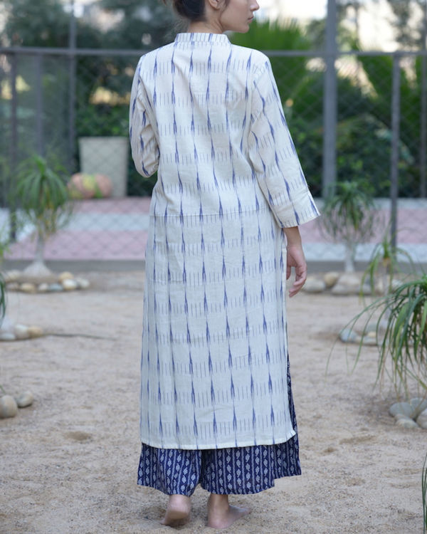 White ikat kurta with blue palazzos 2