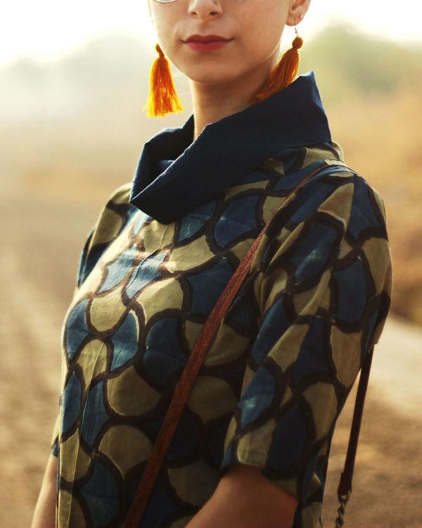 Cowl neck ajrakh dress 1