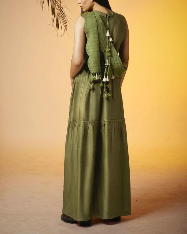 Olive back tasseled dress 1