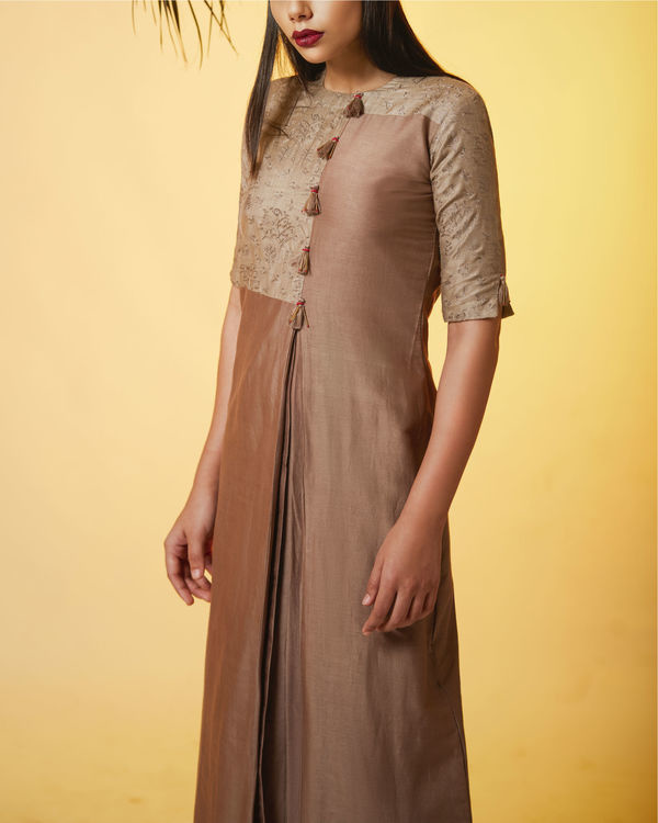 Pleated copper dress 1