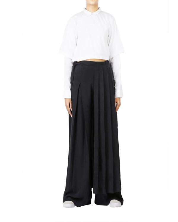 Black pleated wrap skirt 1