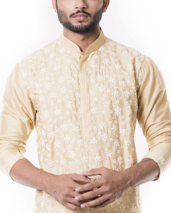 Sherwood tan kurta set with full dori embroidery 2