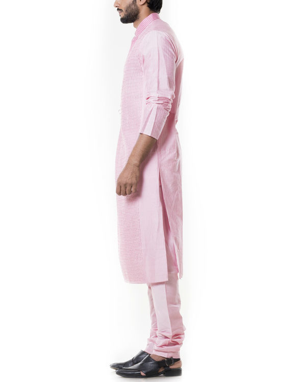 Pink kurta set with  pintucks 1