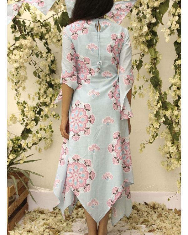Asymmetric flared floral dress 2