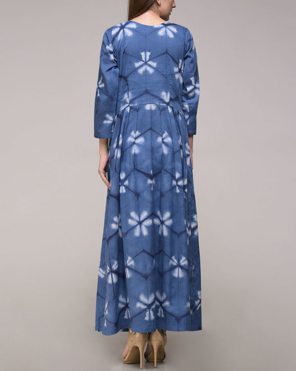 Blue floral pleated maxi 2