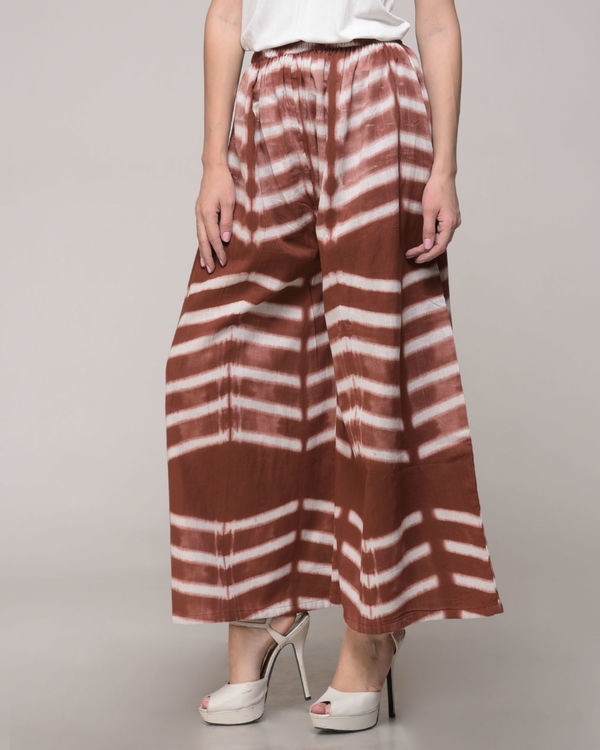 Clamp dyed brown palazzos 1