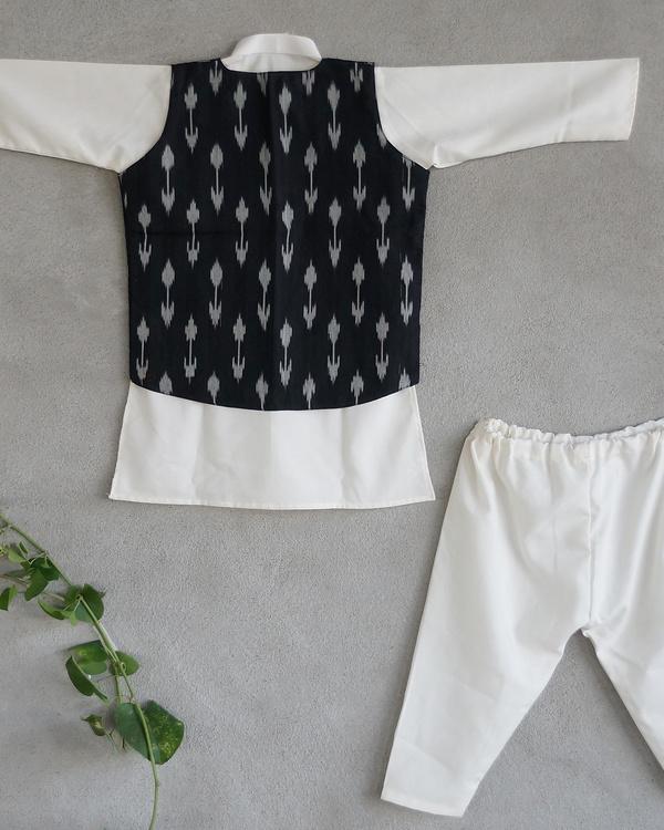 Black ikat nehru jacket set 1