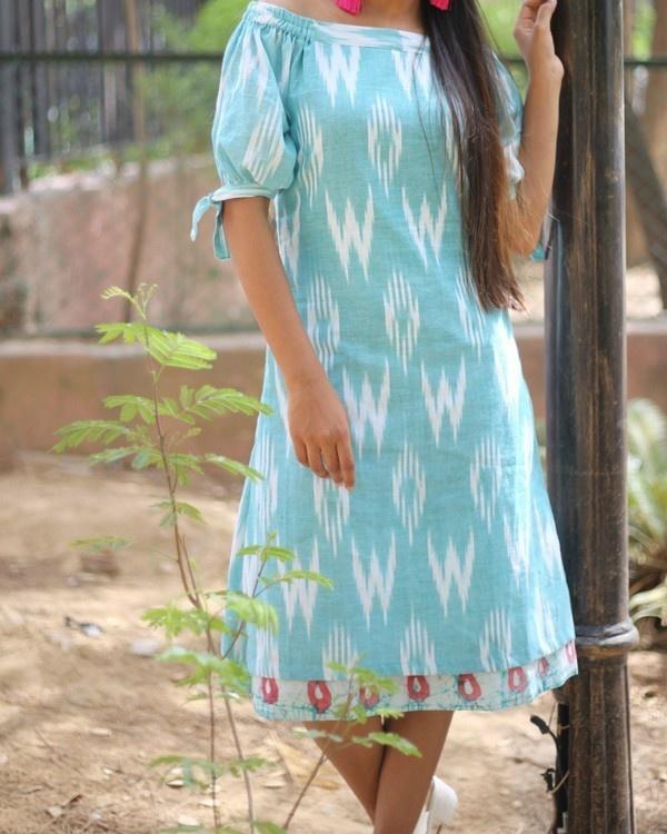 Aqua blue off shoulder dress 1