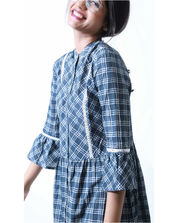 Sapphire blue checks shirt dress 1