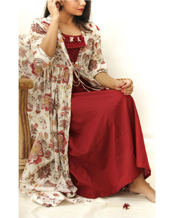 Love red maxi with mulmul jacket 1