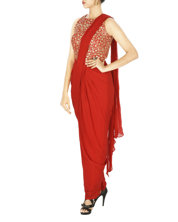 Saree gown in georgette with embroidered yoke 2