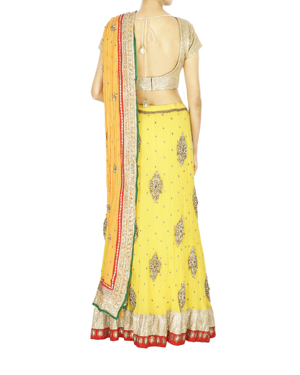 Yellow georgette lehenga with orange georgette dupatta and sequence blouse 1