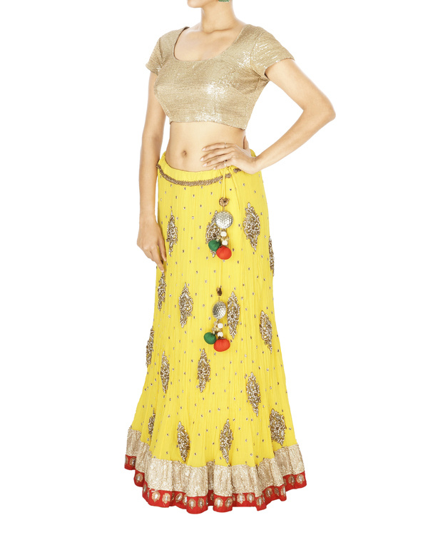 Yellow georgette lehenga with orange georgette dupatta and sequence blouse 2