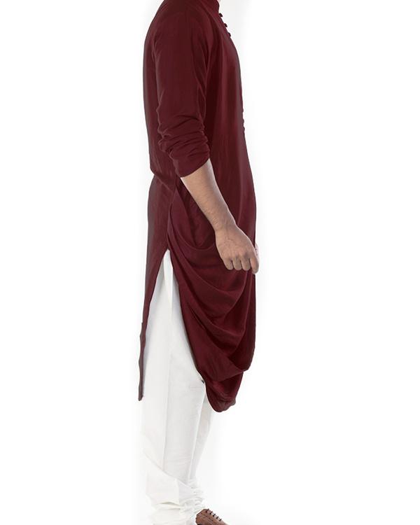 Rosewood cowl draped kurta with churidar pants 2