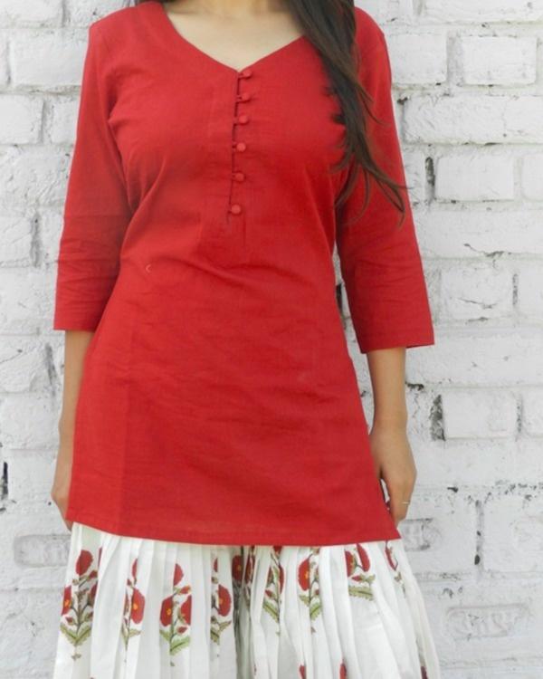 Marsala block print sharara set 1