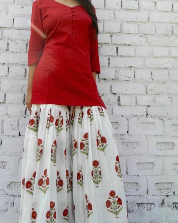 Marsala block print sharara set 2