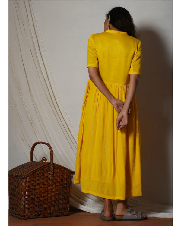 Yellow crinkled flare kurta dress 1