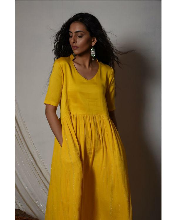 Yellow crinkled flare kurta dress 3
