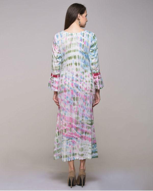 Clamp dyed dress with tassels 1