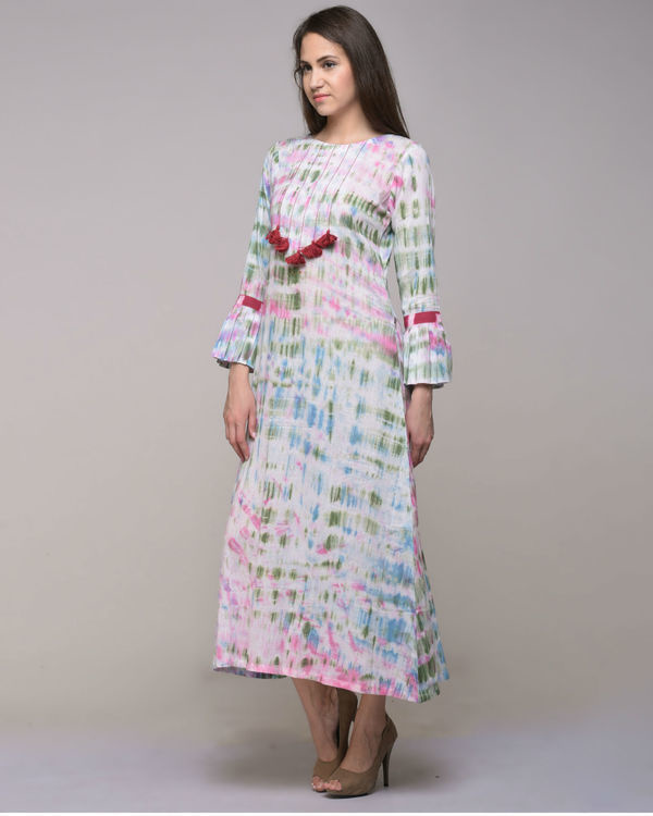 Clamp dyed dress with tassels 2