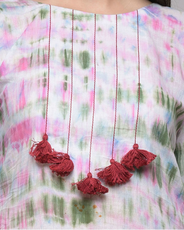 Clamp dyed dress with tassels 3