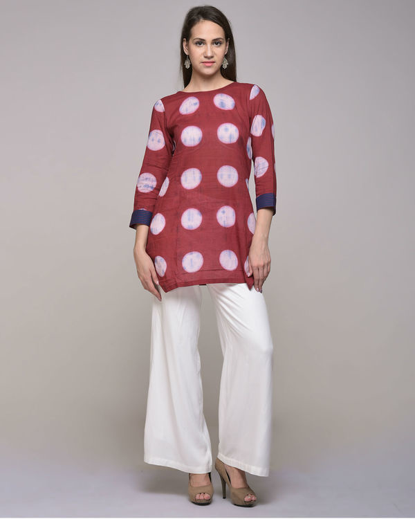 Clamp dyed polka dot embroidered tunic 1