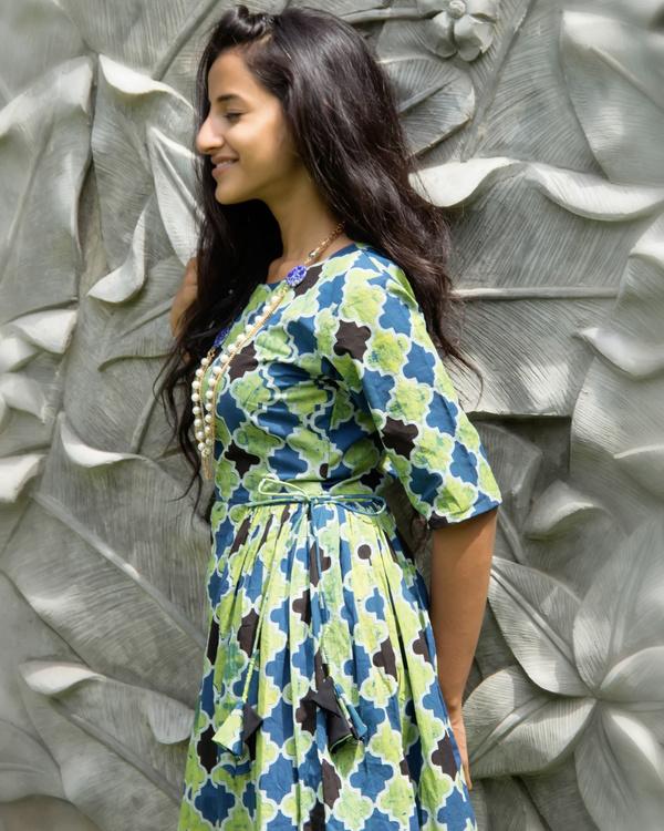 Sea green geometric tassel dress 1