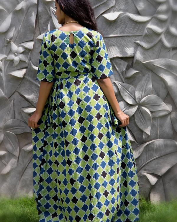 Sea green geometric tassel dress 2