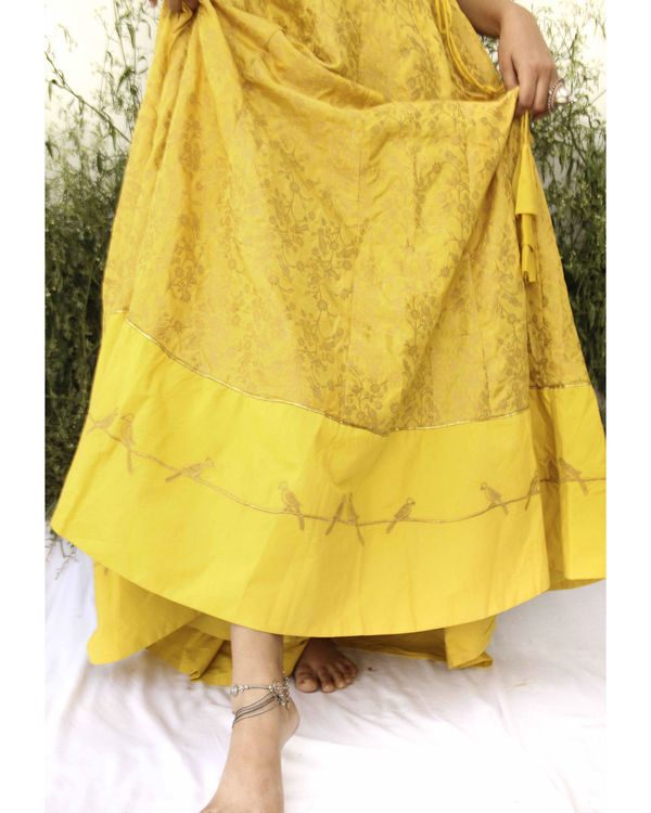 Yellow Banarasi Print lehenga set 2