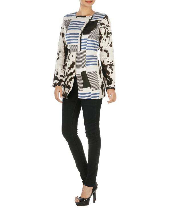 Blue striped overlap jacket 2