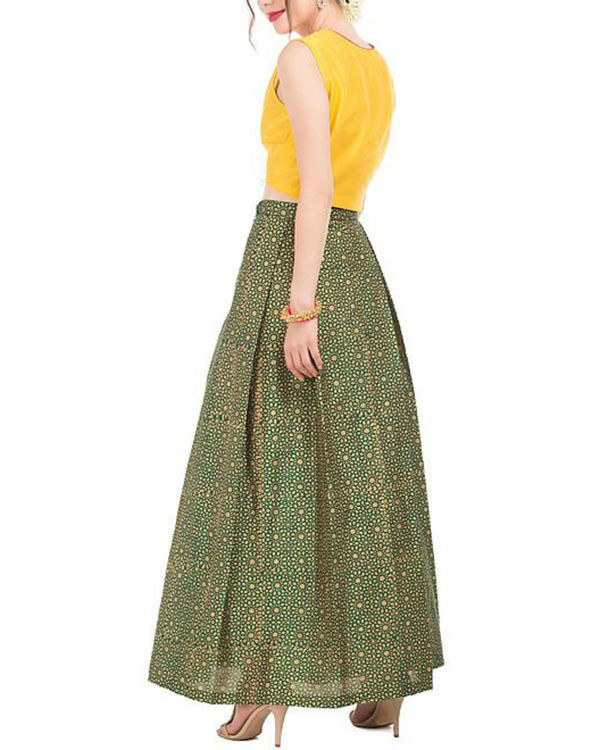 Yellow crop top and green skirt with block prints 1